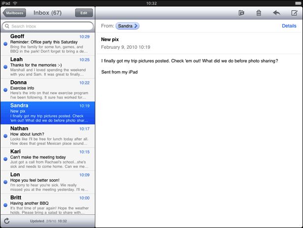 More efficient screen usage in the iPad Mail application.