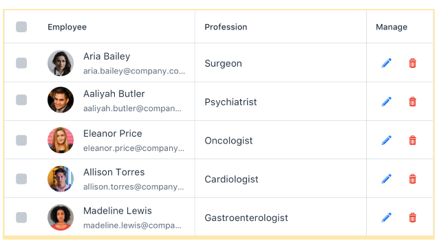 List of employees with icon-only buttons for managing the dataset.