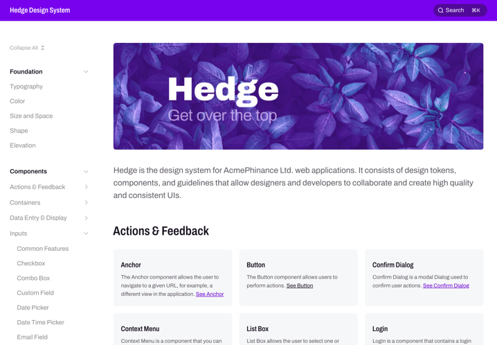 Screenshot of the example website