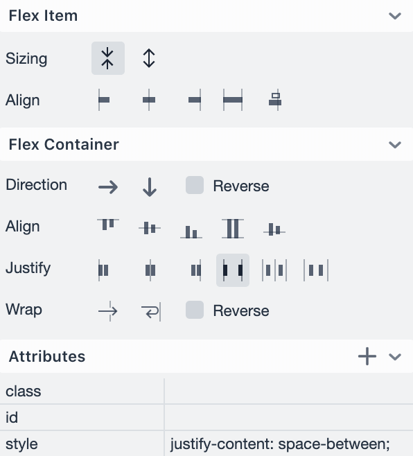 The Vaadin Designer layout editor showing different options for how to align content within a layout.