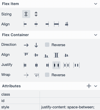 Vaadin Designer flexbox editor panel