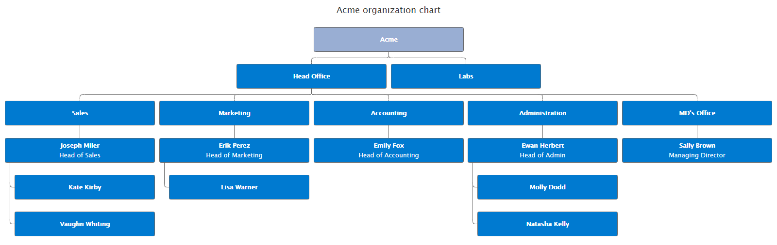 Example of an organization chart