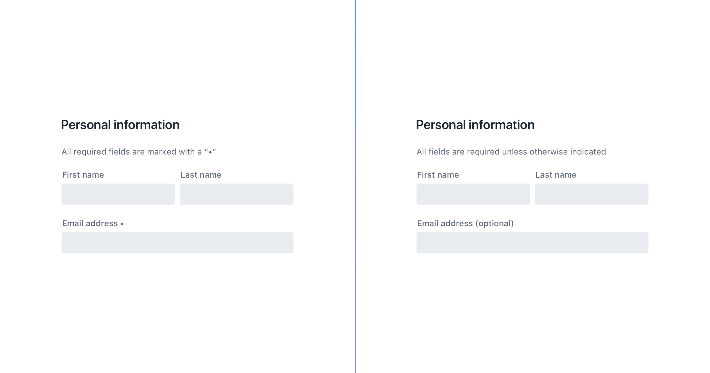 Required vs. optional fields in a form