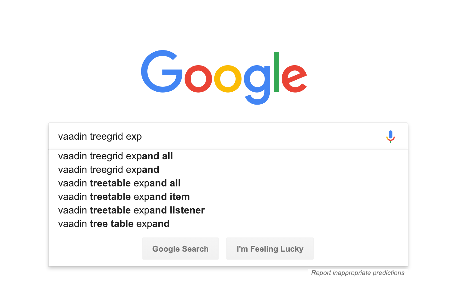 Screenshot of searching help for Vaadin TreeGrid usage