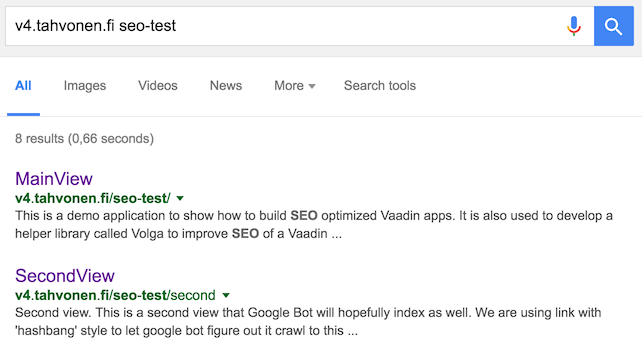 Demo application as seen on Google Search