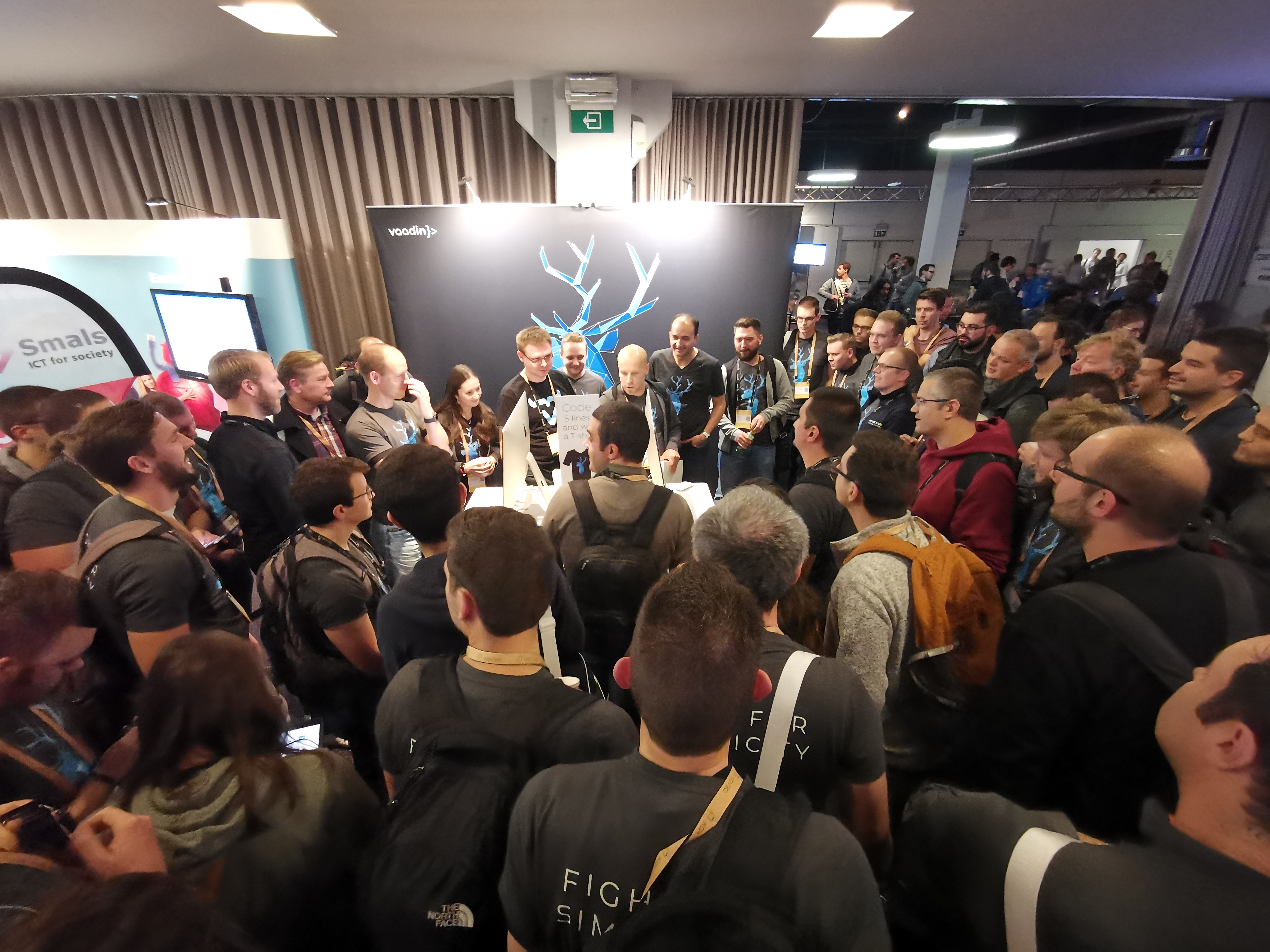 The Vaadin booth was fully crowded throughout the conference.