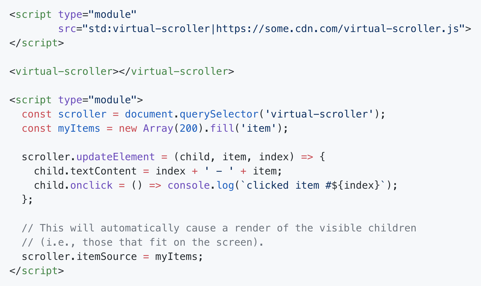 API proposal for loading a virtual scroller from a browser standard library with a fallback