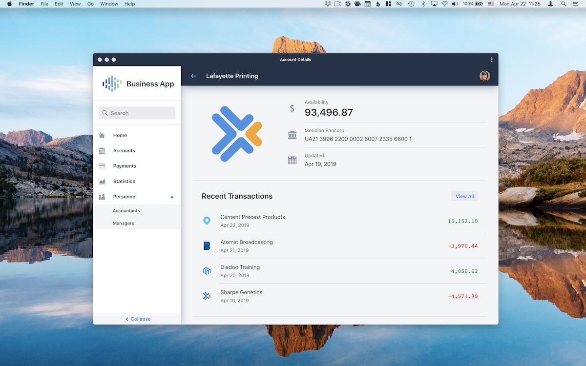 Vaadin Business App starter running as an installed app on a desktop.