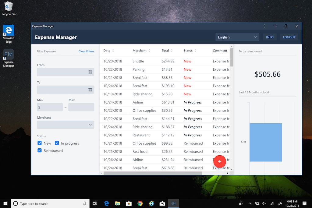Vaadin Expense Manager on Windows
