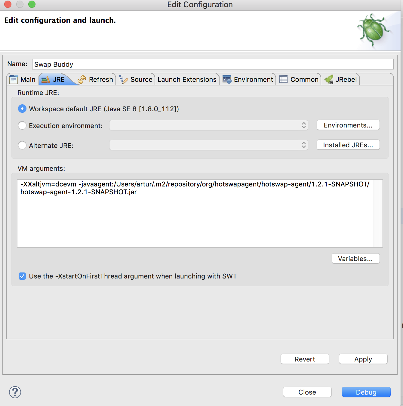 Screenshot of the Edit Configuration dialog in Eclipse