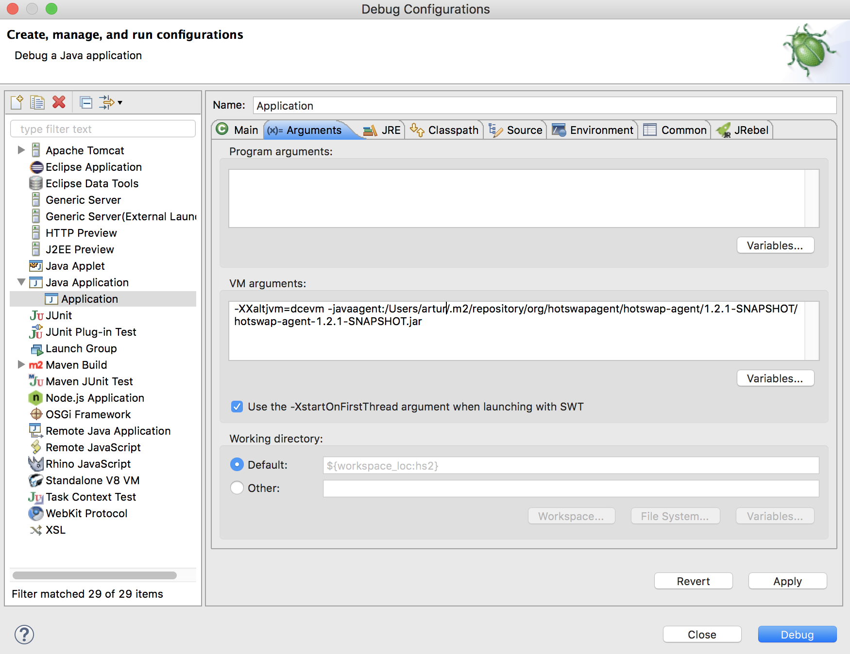 Screenshot of the Debug Configurations dialog in Eclipse