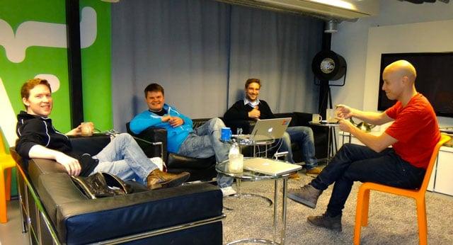 David Blevins, Joonas Lehtinen, Fredrik Rönnlund and Matti Tahvonen on a coffee break at Vaadin HQ.