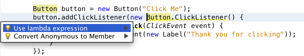 NetBeans 8 beta suggesting to use a simpler lambda expression as listener