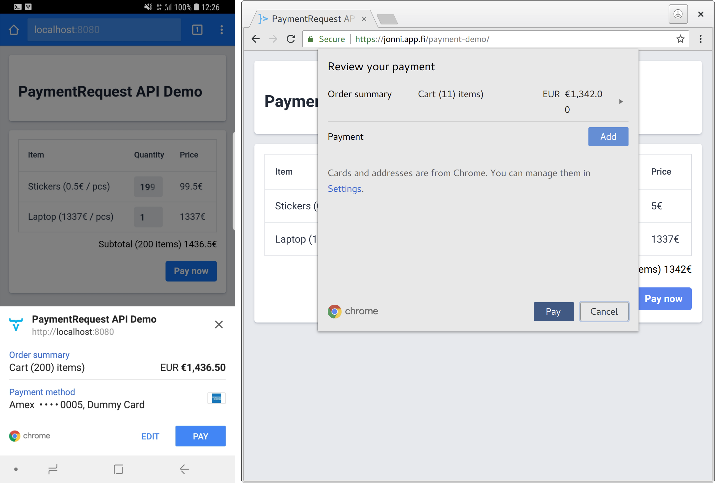Payment Request in just opened state