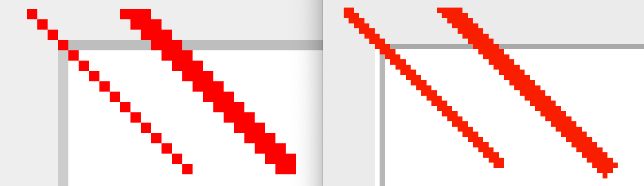 Swing pixel graphics sample with and without scaling
