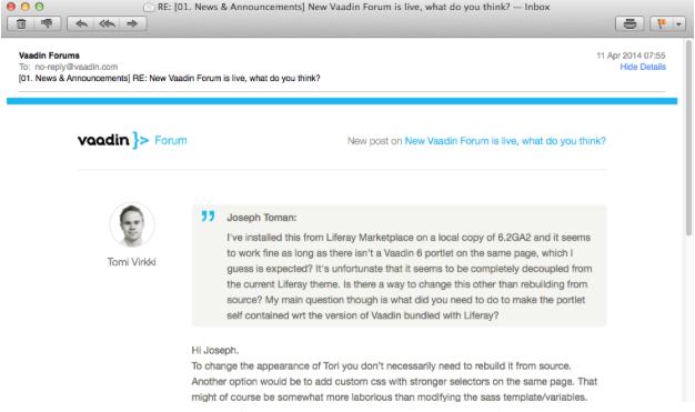 Tori Liferay Forum HTML emails