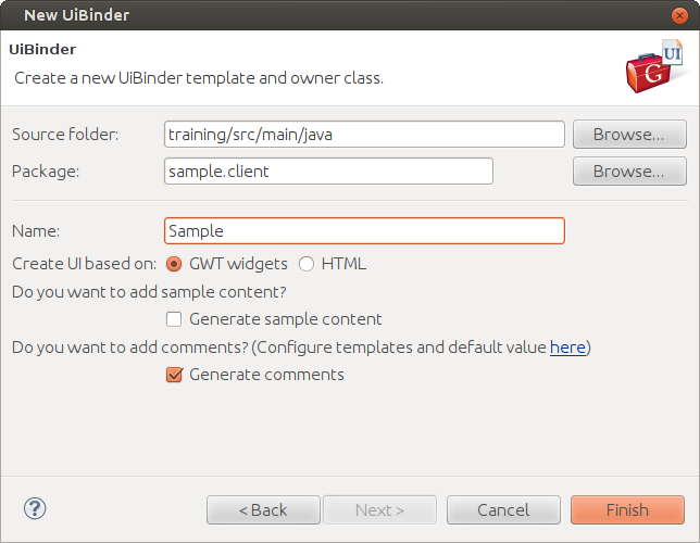 Screenshot of the wizard dialog for UiBinder from the Google plugin for Eclipse