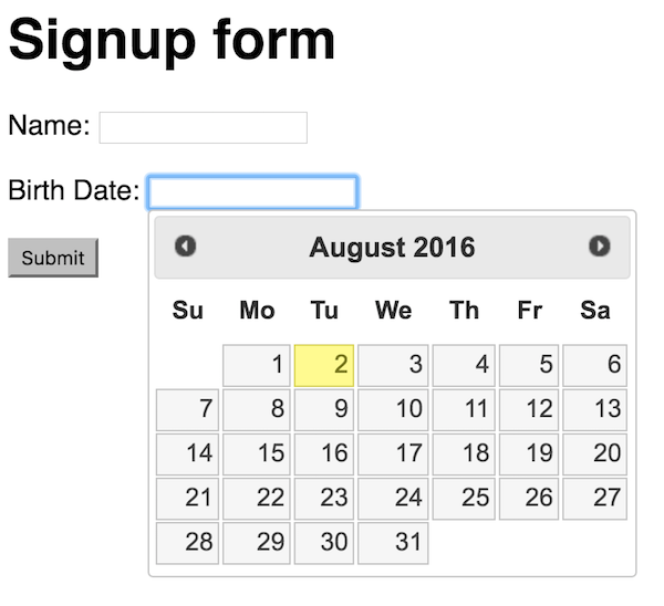 jQuery app with date picker