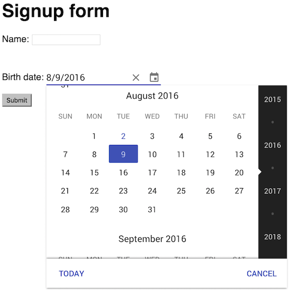 jQuery app with web component date picker