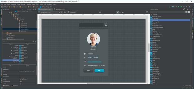 Screenshot of Vaadin Designer 1.1 in IntelliJ IDEA