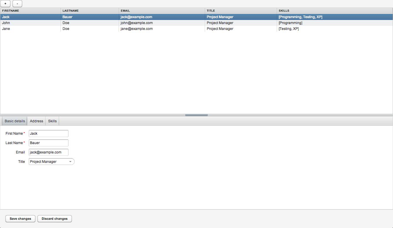 Screenshot of example MVP app