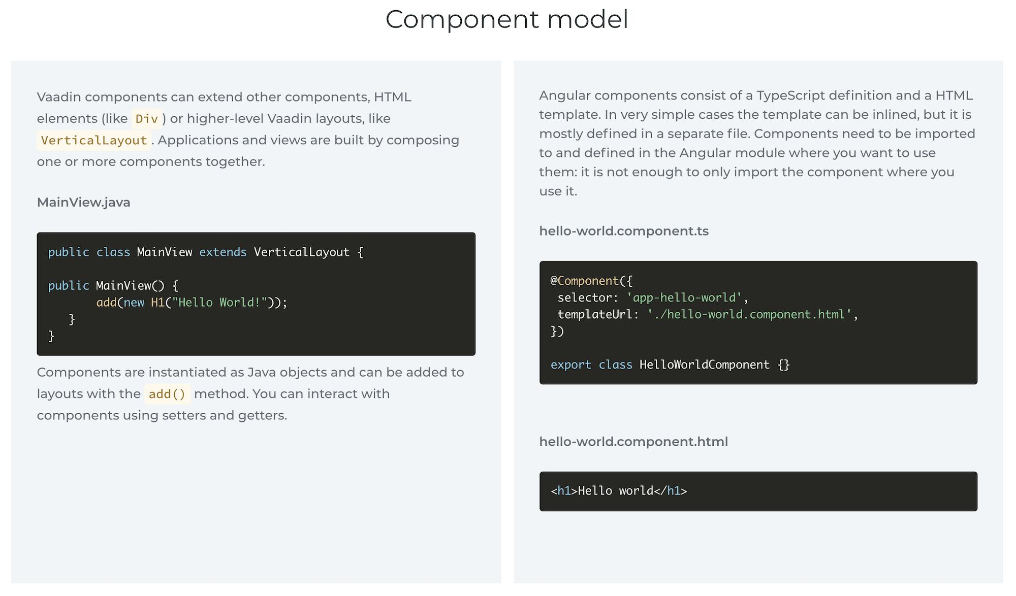Comparing Vaadin and Angular component models