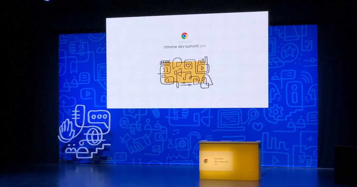 Empty stage with a podium and a screen showing the text Chrome Dev Summit 2019