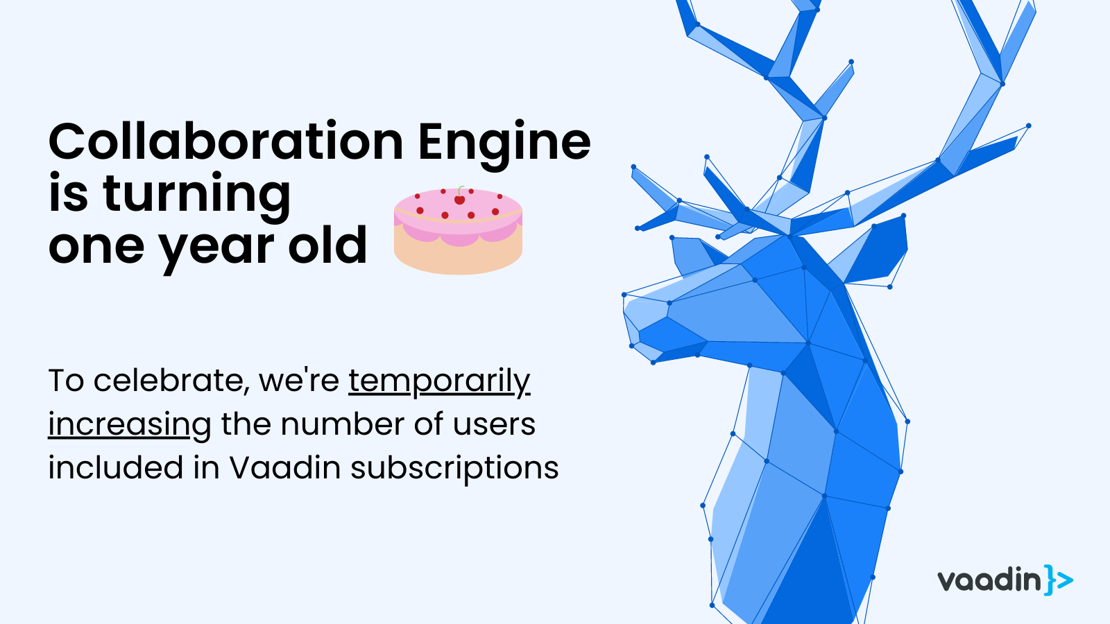 Featured image with Vaadin reindeer and celebrating collaboration engine turning one years old.