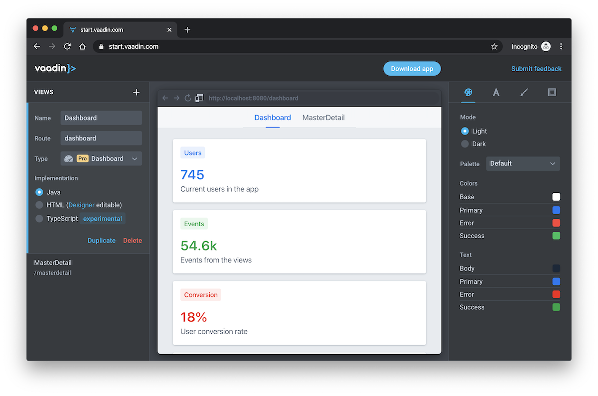 The Vaadin starter wizard showing a dashboard view