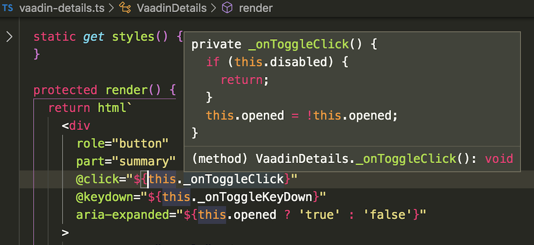 Code hint showing the definition of a highlighted method reference