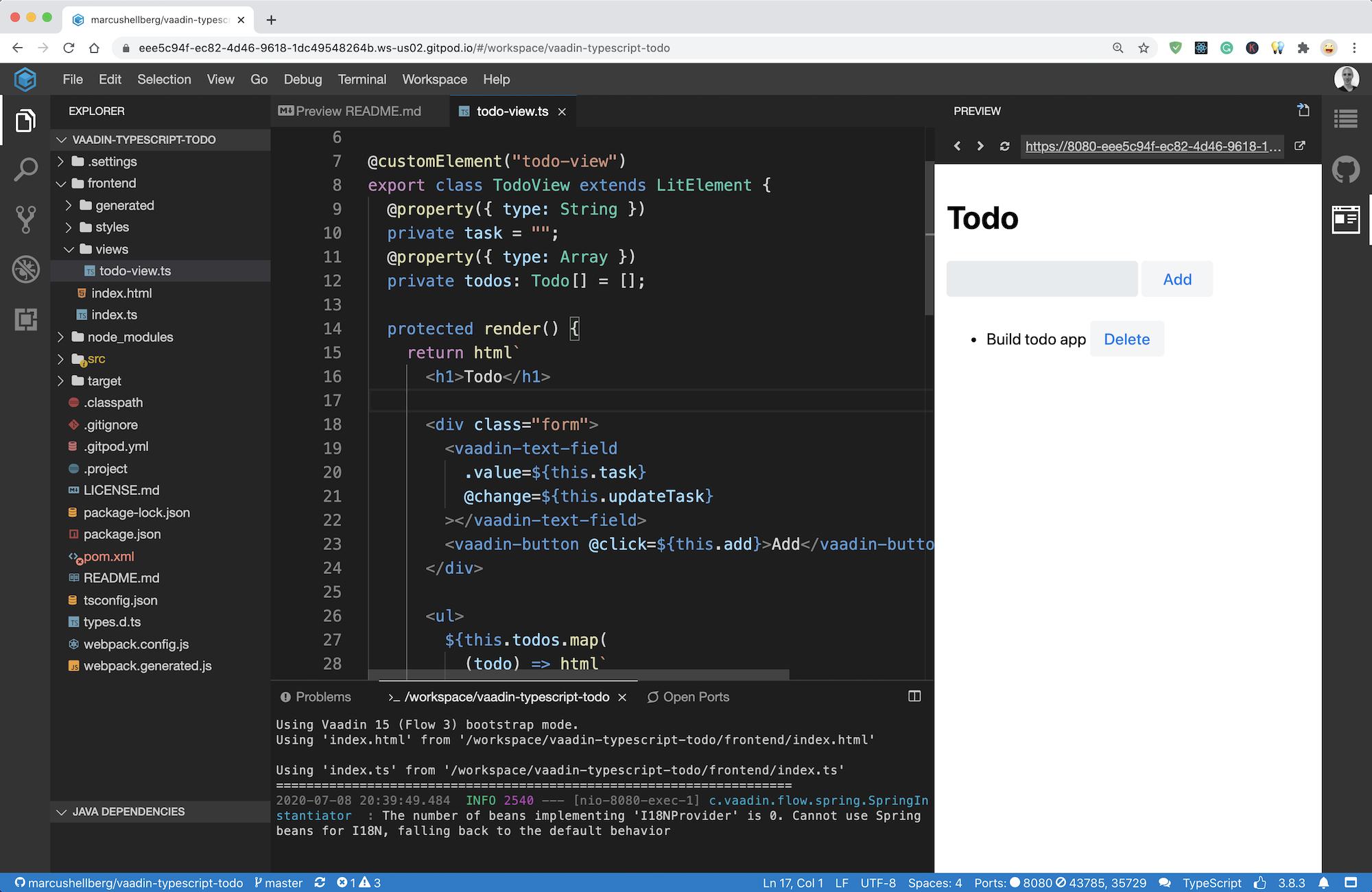 A todo application written with Vaadin's TypeScript based views running in GitPod, an online IDE